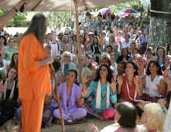 Devotees receiving Adi Da's Darshan at The Mountain Of Attention