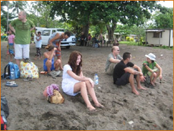 devotees waiting for the boat from Taveuni to Naitauba